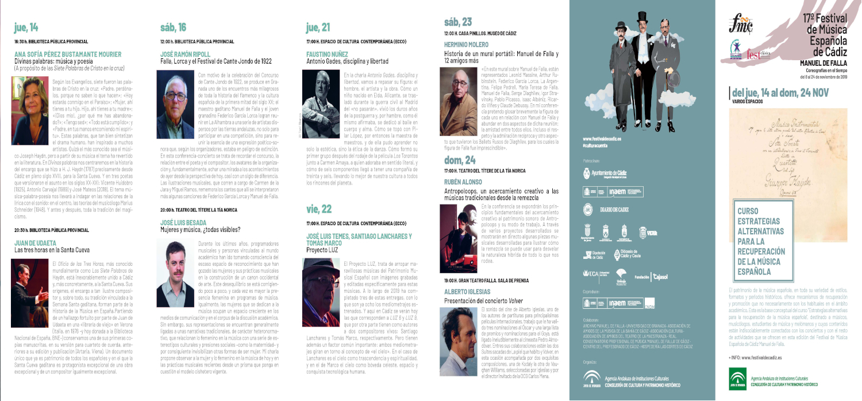 """Un nuevo curso """"Estrategias alternativas para la promoción de la música española"""" en el XVII Festival de música española Manuel de Falla"""