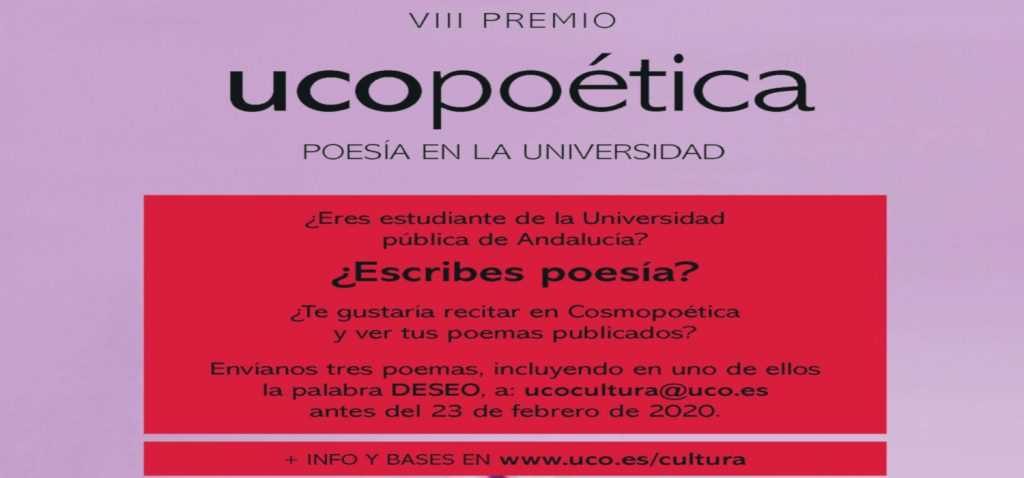 Abierto el plazo para participar en el VIII Certamen UCOpoética
