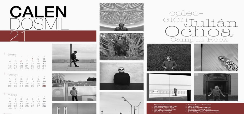 El Servicio de Extensión Universitaria del Vicerrectorado de Cultura dedica su Calendosmil21 al fotógrafo Julián Ochoa y a su colección de retratos del programa Campus Rock